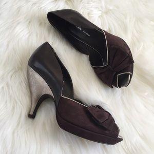 DKNY Brown Bow Open Toe Heels Size 5.5
